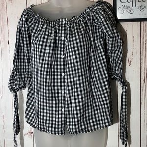 🐼 Black and White Check Off Shoulder Top Cotton